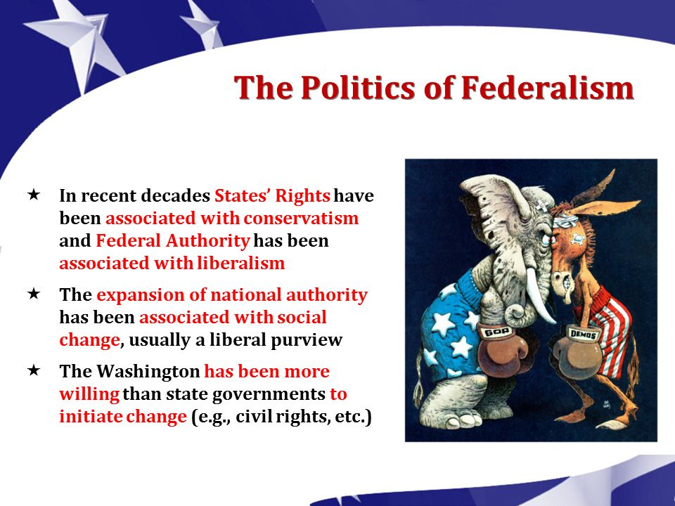 states rights and federal authority The united states has a federal system of government where of government would exercise authority to the states' rights advocates.