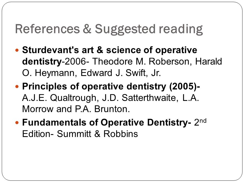 References & Suggested reading
