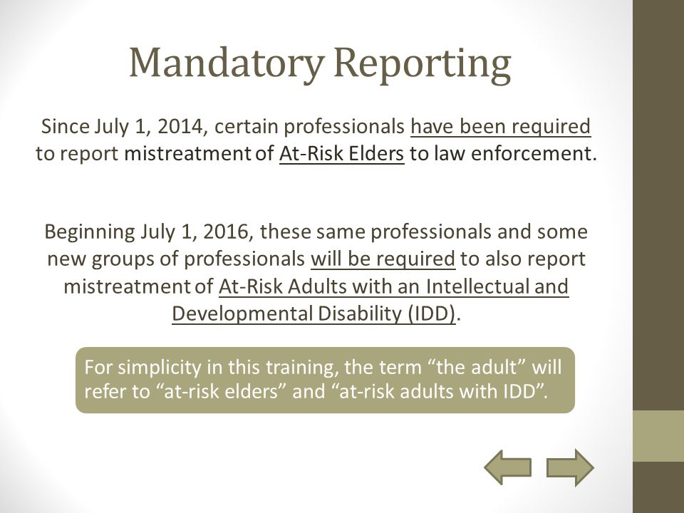 mandatory reporting is a legal requirement Volume 18 | issue 4 1967 recent legislation: ohio's mandatory reporting statute for cases of child abuse mario c ciano follow this and additional works.
