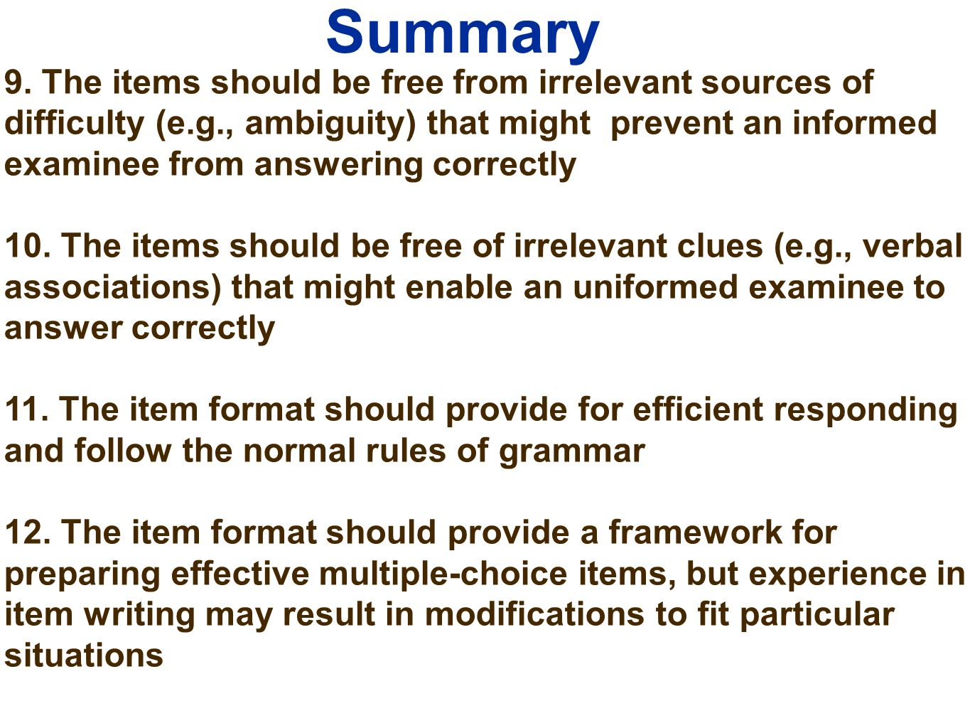 writing selection items ppt