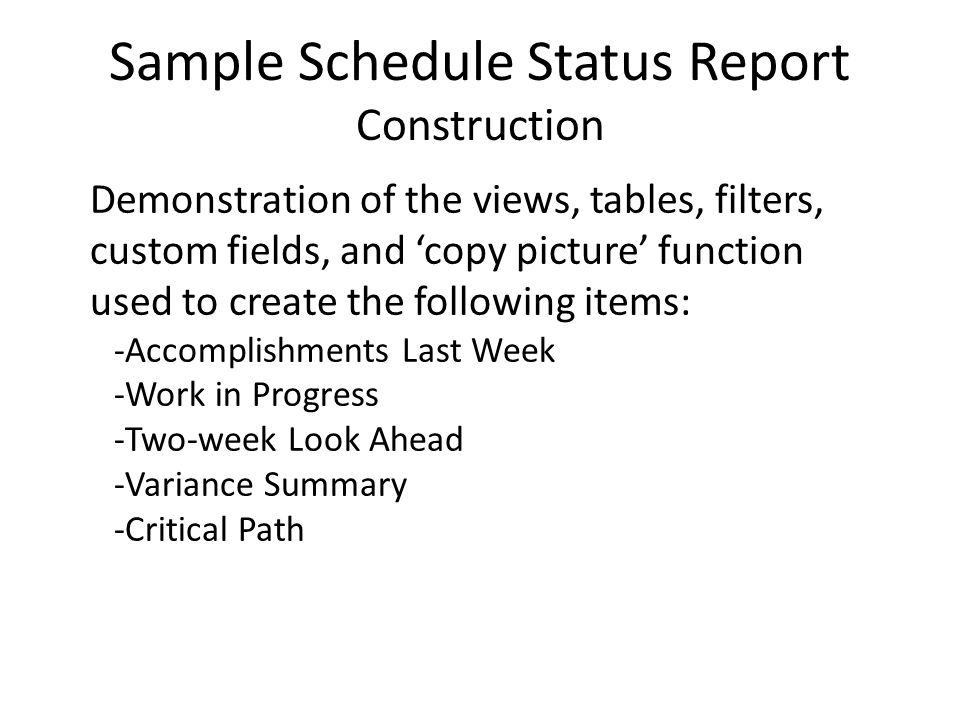 Schedule Status Reporting Using Ms Project - Ppt Video Online Download