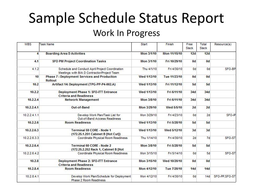 work status report