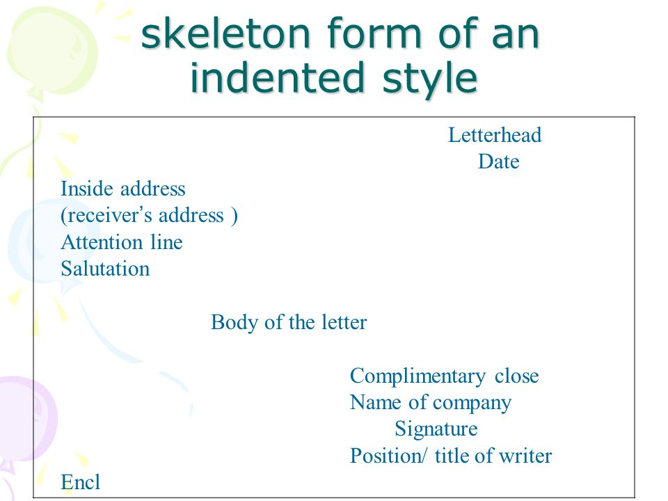 Business Letter Format Indented. skeleton form of an indented style Foreign Economic Relations and Trade Correspondence  ppt video
