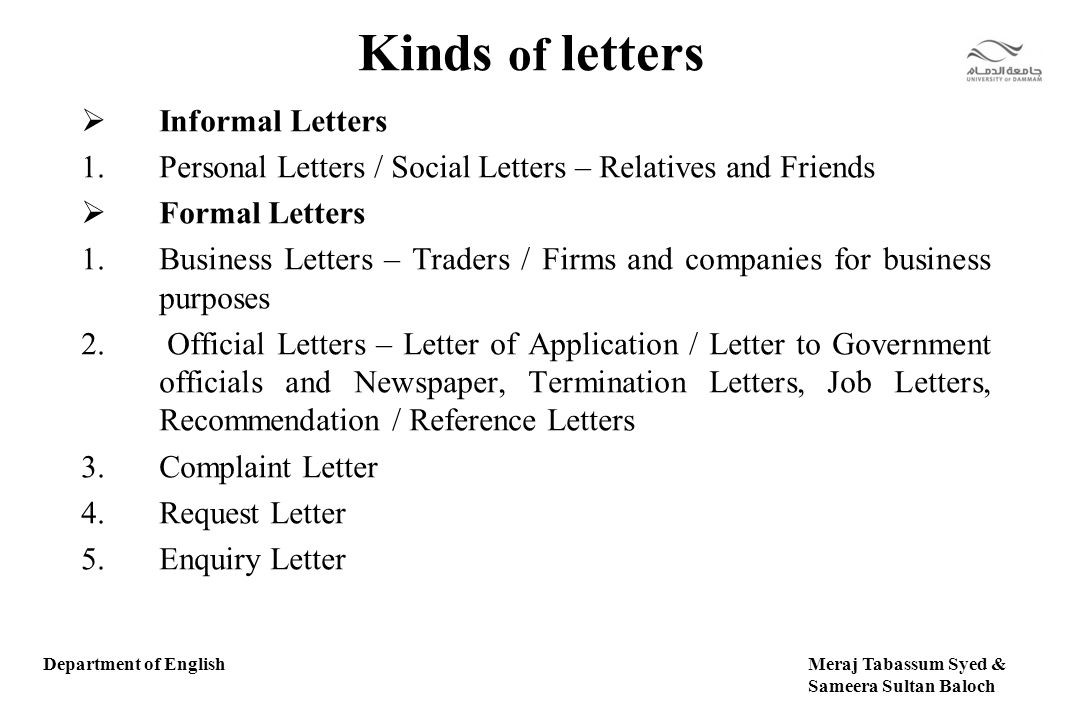 writing an informal business letter