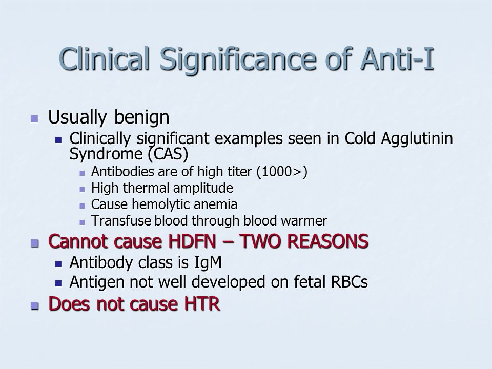 Clinical Significance of Anti-I