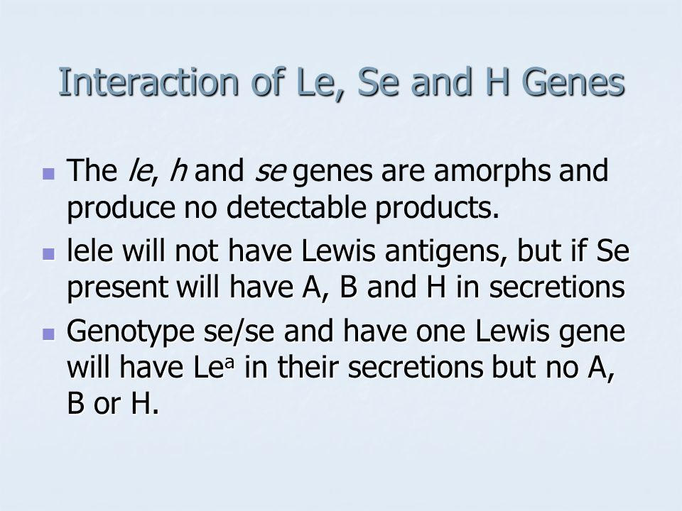 Interaction of Le, Se and H Genes