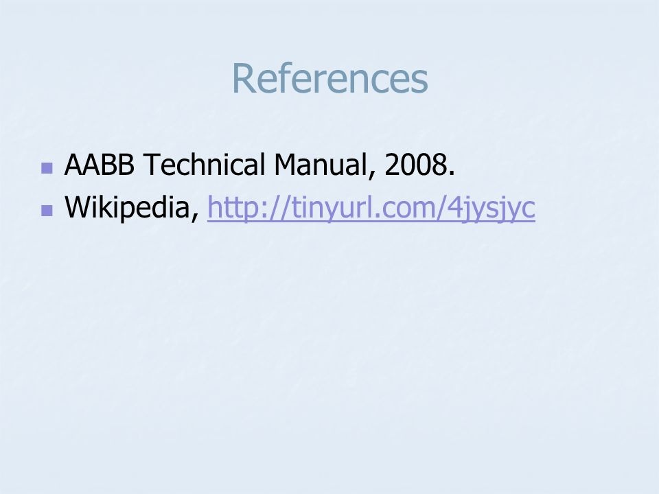 References AABB Technical Manual, 2008.