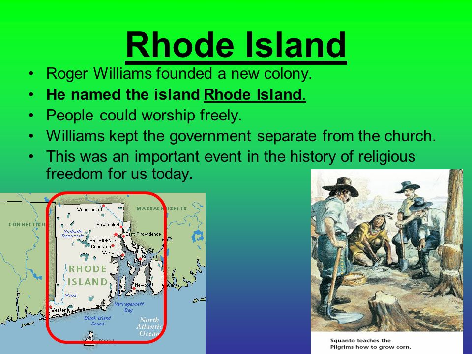Rhode Island Colony Major Landforms