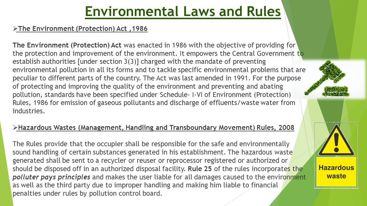 Environmental Laws and Rules