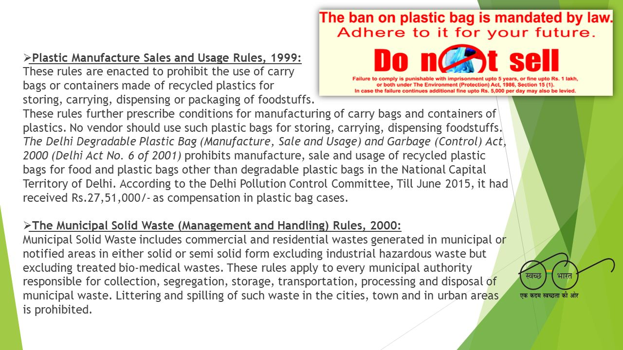 Plastic Manufacture Sales and Usage Rules, 1999: