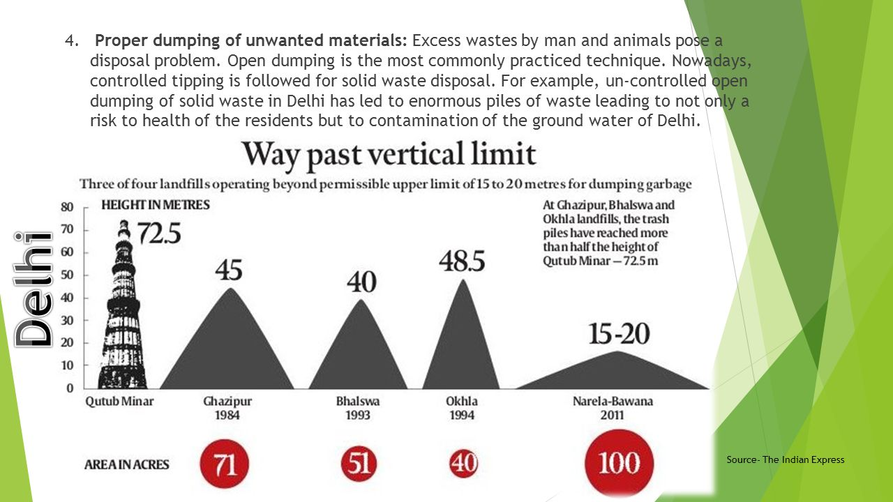 Proper dumping of unwanted materials: Excess wastes by man and animals pose a disposal problem. Open dumping is the most commonly practiced technique. Nowadays, controlled tipping is followed for solid waste disposal. For example, un-controlled open dumping of solid waste in Delhi has led to enormous piles of waste leading to not only a risk to health of the residents but to contamination of the ground water of Delhi.
