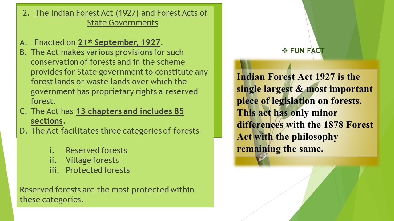 2. The Indian Forest Act (1927) and Forest Acts of State Governments