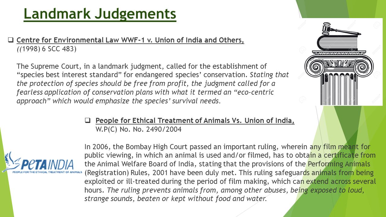Landmark Judgements Centre for Environmental Law WWF-1 v. Union of India and Others, ((1998) 6 SCC 483)