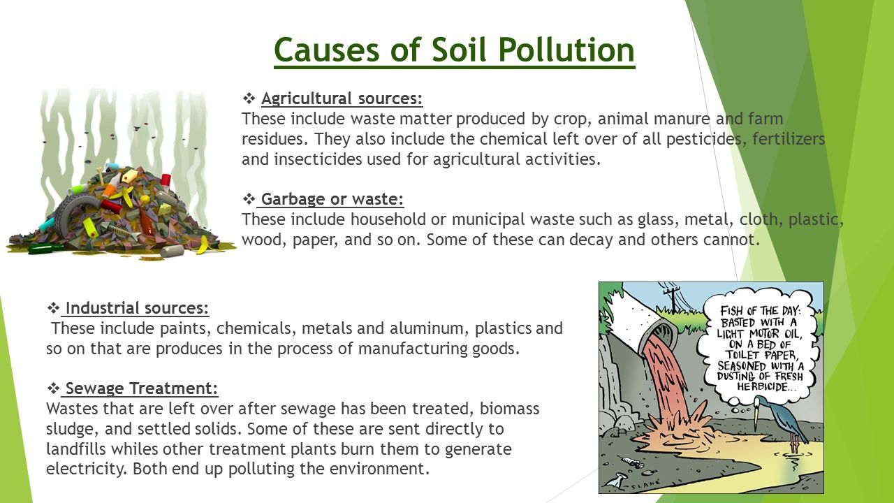 causes of soil pollution Many common soil pollutants are carcinogenic, or cancer-causing according to  the us environmental protection agency, humans who are.