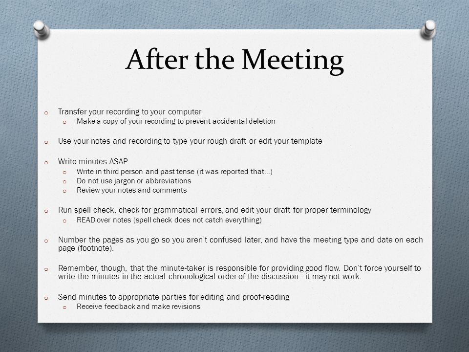 how to write meeting notes