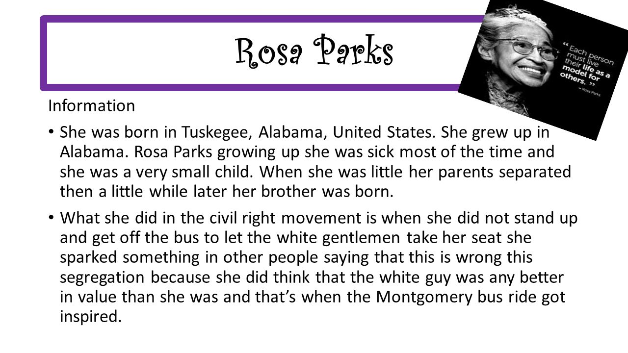 rosa parks research essay Essay instructions: this is a research essay for an english class the specific topic that i would like to write about is the role of women the specific topic that i would like to write about is the role of women.