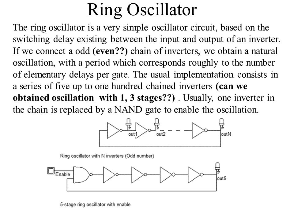 ring oscillator thesis The ring oscillator is made up of 3 inverters connected in ring fashion as shown in figure 2 the length is fixed at 180nm.
