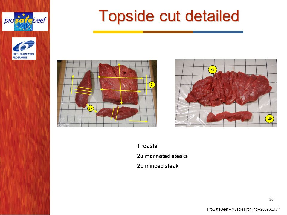 Topside cut detailed 1 roasts 2a marinated steaks 2b minced steak 1 2