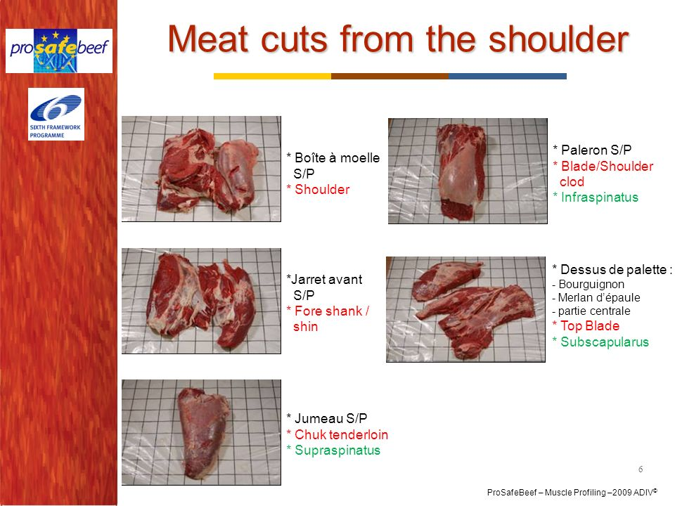 Meat cuts from the shoulder
