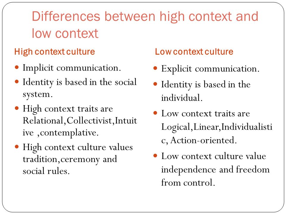 high-context and low-context communication essay Cultural communication in business context based on qualitative case study of a  small swedish company  communication: high-context and low-context.