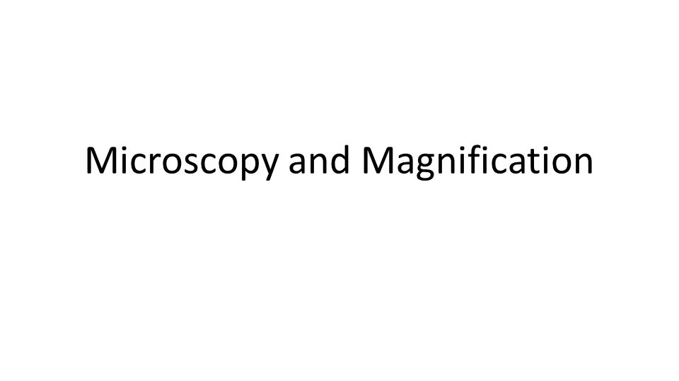 Microscopy and Magnification