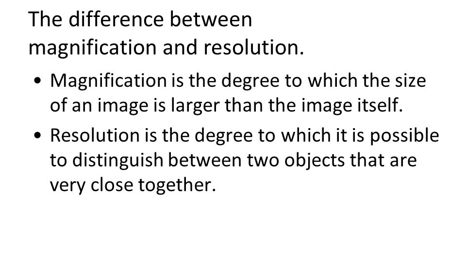 The difference between magnification and resolution.