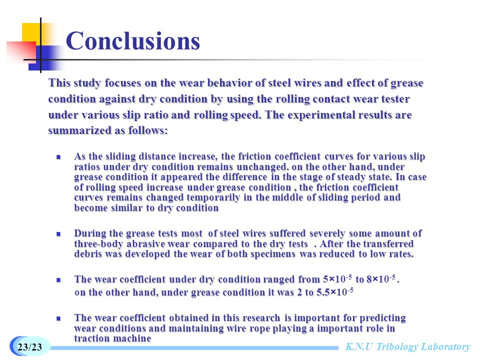 Wear behavior of steel wire under grease lubrication - ppt video ...