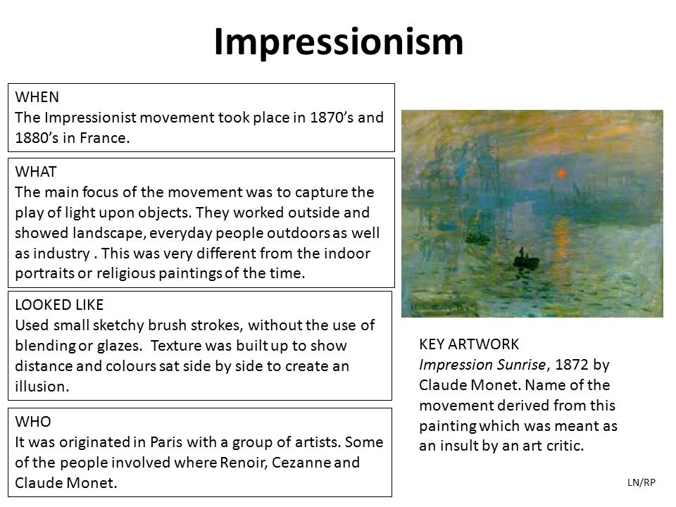 Art history timeline a study guide produced by higher the impressionist movement took place in 1870s and 1880s in france what altavistaventures Images