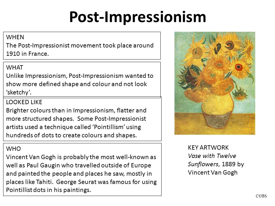 an analysis of the styles and movements of the impressionist act Impressionism didn't use so much the very contrasting colors, but rather it mixed colors in such a way that making a certain color a little lighter/darker truly brought out the lighting effects another characteristic of impressionism is its in-depth analysis of how the eyes perceive art.