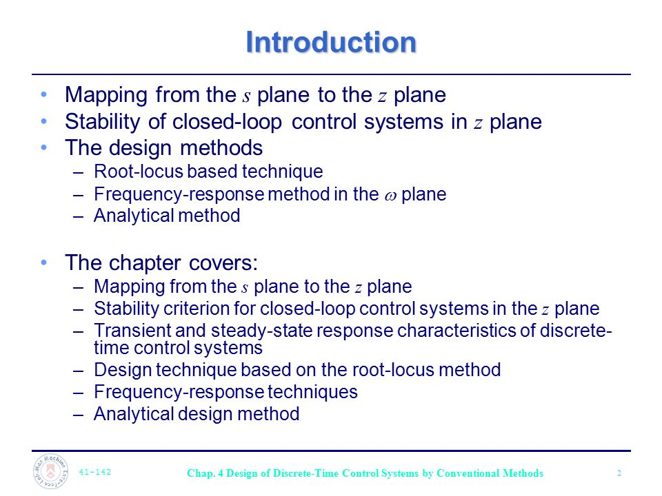 Introduction Mapping from the s plane to the z plane