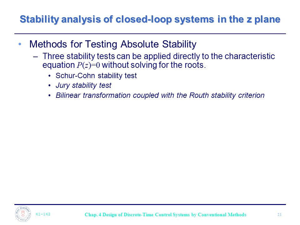 Stability analysis of closed-loop systems in the z plane