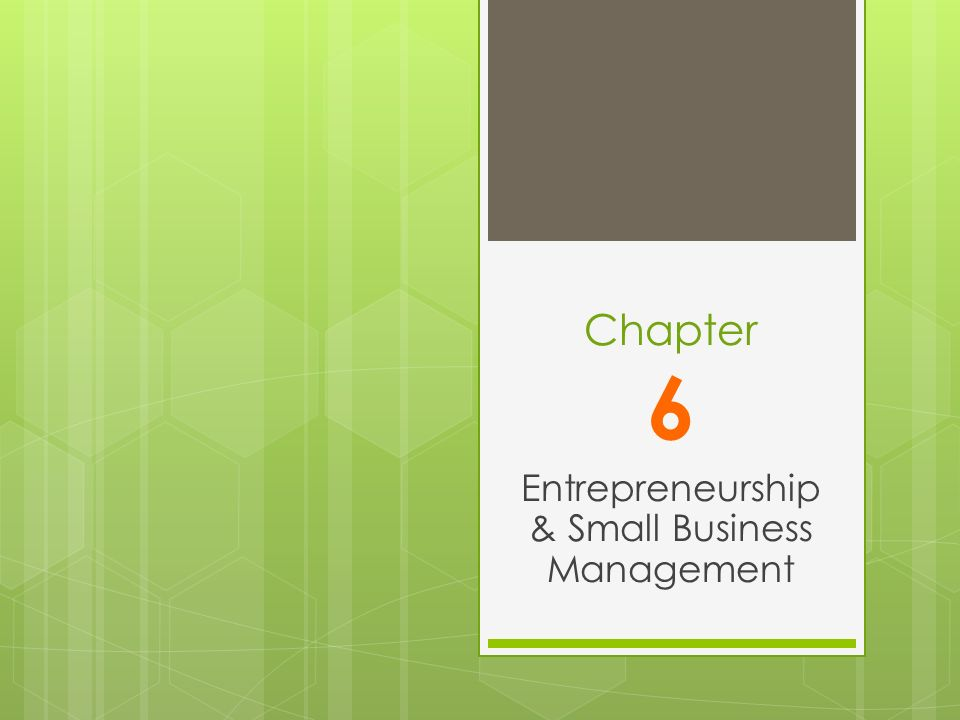 Entrepreneurship / Small Business Management