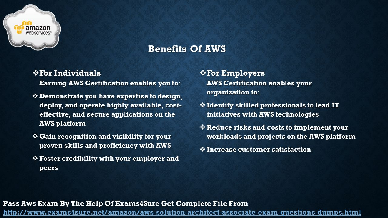 Aws aws certified solutions architect ppt video online download benefits of aws for individuals earning aws certification enables you to 1betcityfo Images