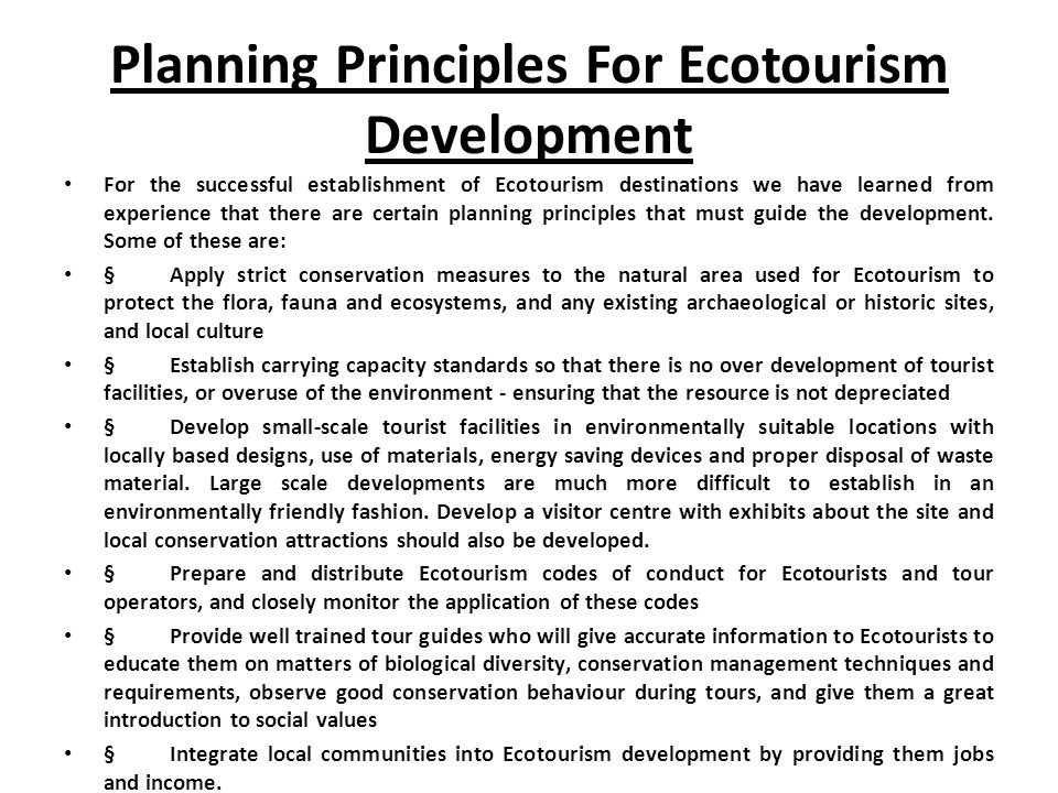 The principals and benefits of ecotourism tourism essay