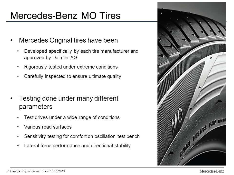 Mercedes benz tires george krzyzanowski ppt video online for Mercedes benz flat tire