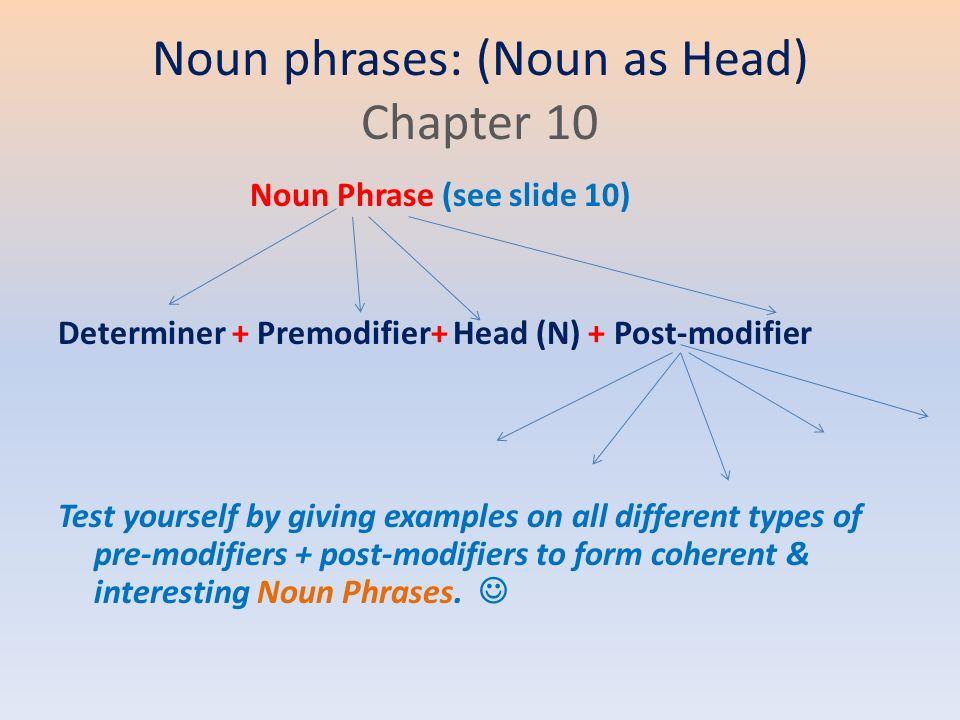 noun phrase premodification by participles 2 noun phrase uploaded by andnow premodification, (biasanya terdiri dari kata sifat dan kata benda) yang menerangkan headword past participle + head - 5.