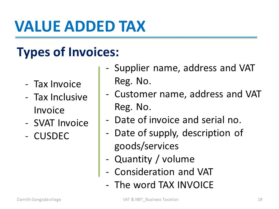 Blank Printable Invoice Template Free Word Vat  Nbt Business Taxation  Edba  Ppt Download Online Receipt Book Excel with Costco Refund Without Receipt Excel  Vat  Nbtbusiness Taxation Value Added Tax Types Of Invoices  Ikea Return Policy Without Receipt Word