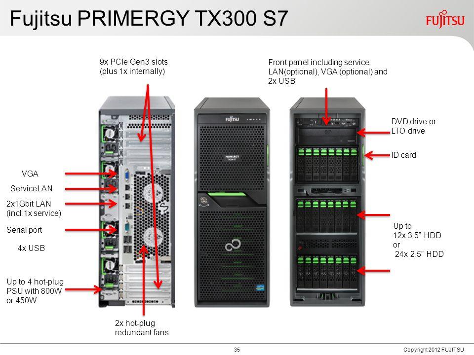Fujitsu PRIMERGY TX300 S7 4 hot-plug fans 2x hot-plug redundant fans