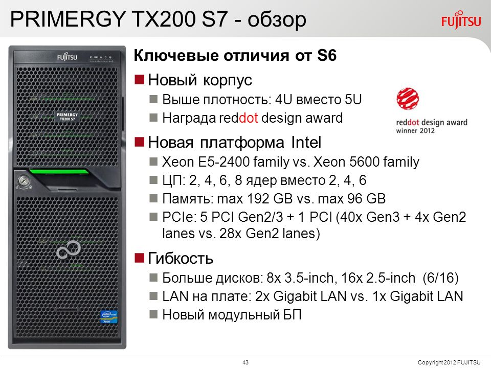 PRIMERGY TX200 S7 - обзор Features Benefits