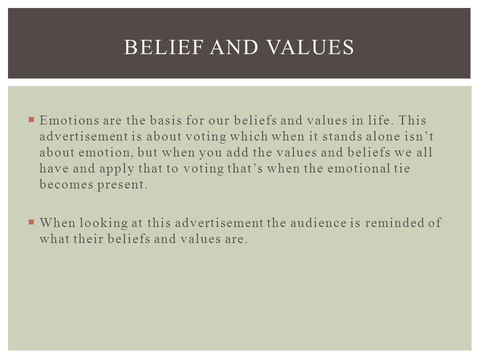 Personal values, belief and attitudes
