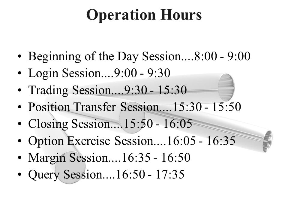 Operation Hours Beginning of the Day Session....8:00 - 9:00