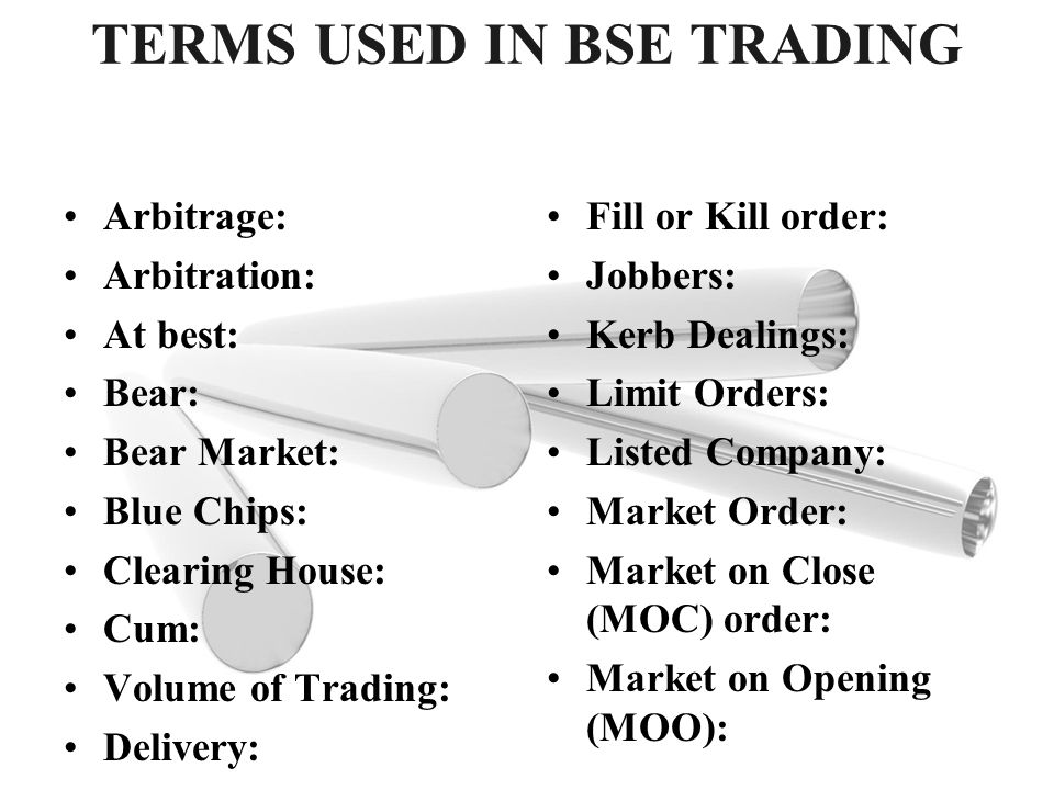TERMS USED IN BSE TRADING
