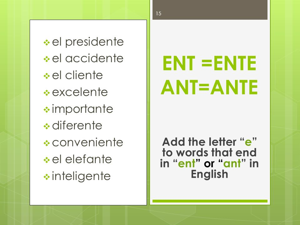 Add the letter e to words that end in ent or ant in English