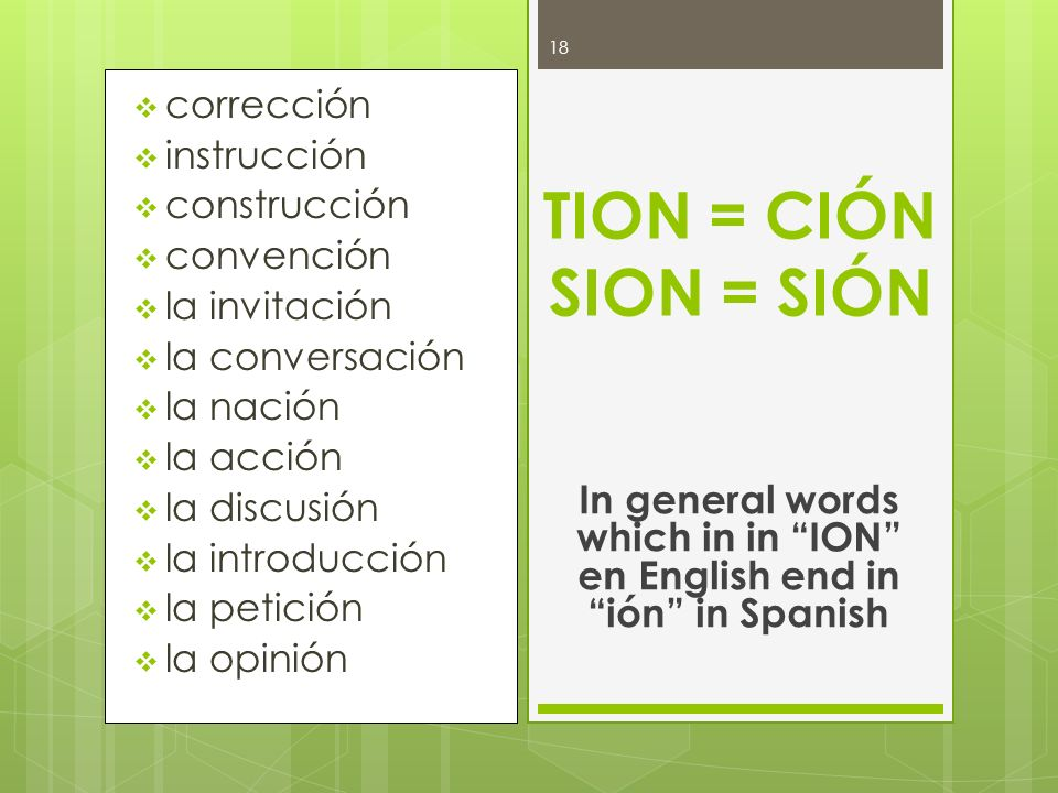 In general words which in in ION en English end in ión in Spanish
