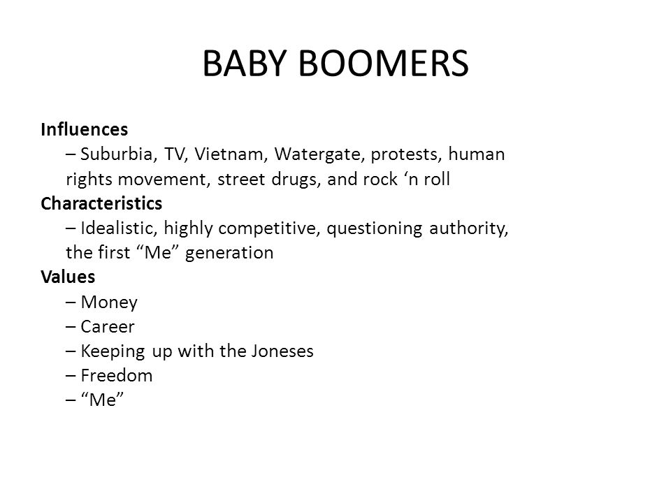 baby boomers power and authority Baby boomers (born 1946-1964) generation x  on the other hand, x-ers seek their own power and voices and see authority as unreasonable toughness.