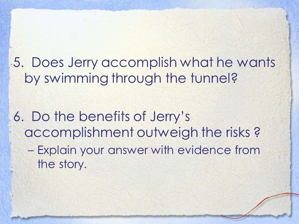 the adventures of jerry in through the tunnel by doris lessing Need help with through the tunnel in doris lessing's through the tunnel   the story begins with jerry and his mother on vacation from their  but he  doesn't tell her about his adventure through the tunnel—only that he.