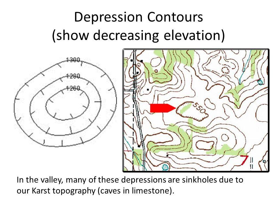 Depression Contours Show Decreasing Elevation