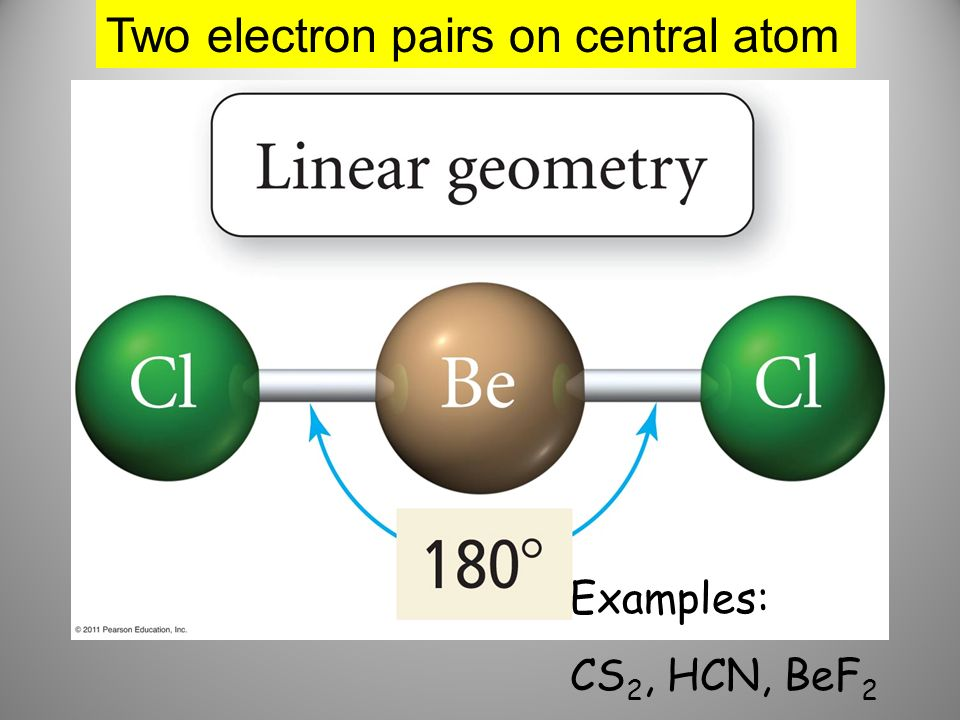 Two electron pairs on central atom