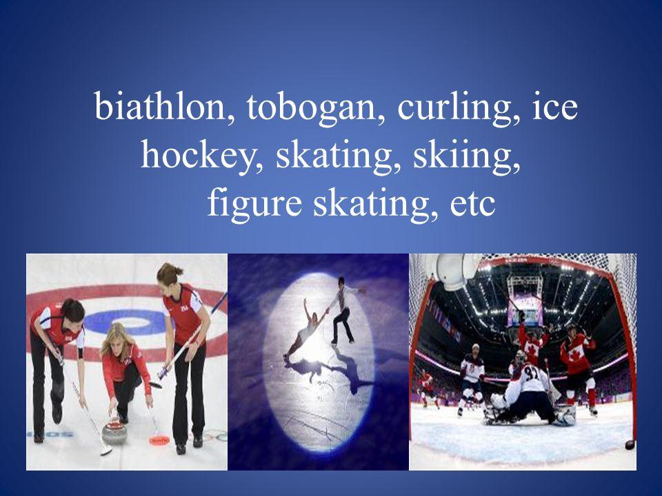 biathlon, tobogan, curling, ice hockey, skating, skiing, figure skating, etc