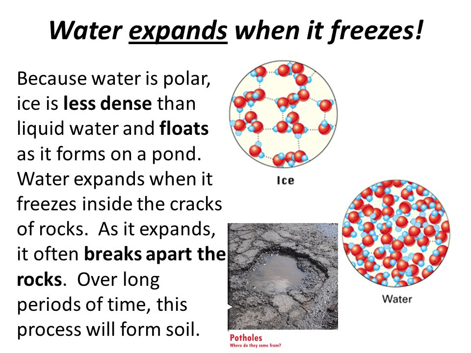 water expands when it freezes Frozen water pipes are a serious matter water expands as it freezes and ruptures pipe joints and the pipes themselves, and you don't notice the leaks until the water.